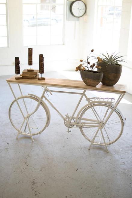 Rustic White Repurposed Bicycle Display Shelf