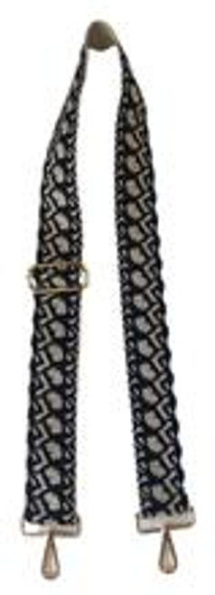 "2"" Adjustable Strap with Gold Hardware, Cream/Navy"