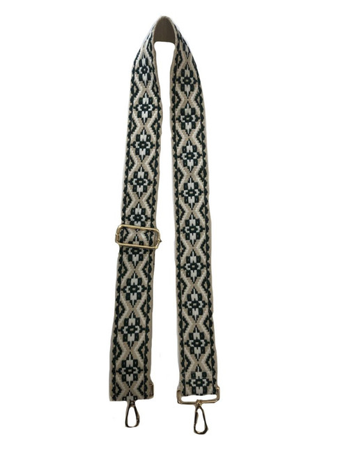 """2"""" Adjustable Embroidered Medallion Strap with Gold Hardware, Cream/Olive"""