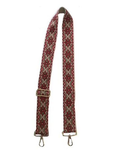 "2"" Adjustable Embroidered Medallion Strap with Gold Hardware, Beige/Red"