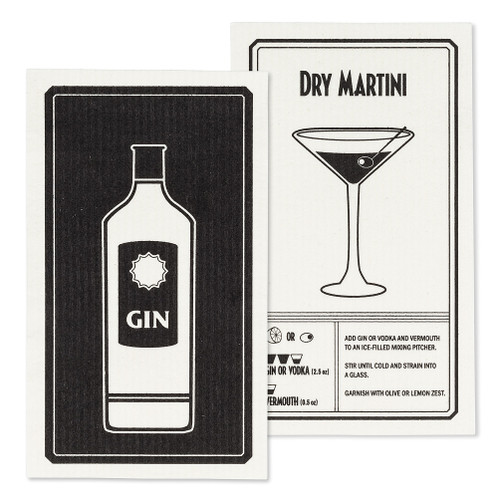 Gin & Martini Dishcloths - Set of 2