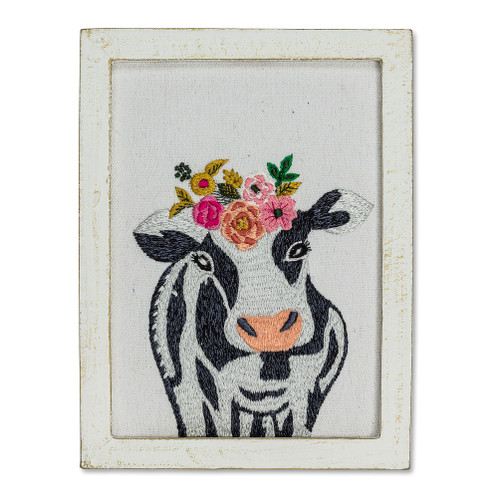 Large Cow with Flowers Wall Art