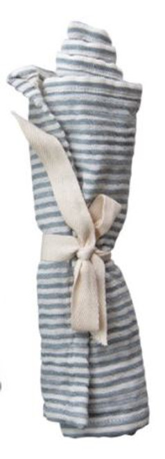 Woven Cotton Burp Cloth with Stripes,  Blue