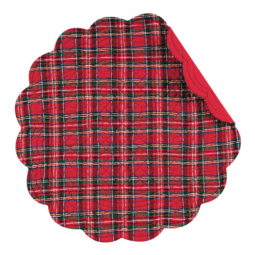Red Plaid Round Placemat - Set of 4