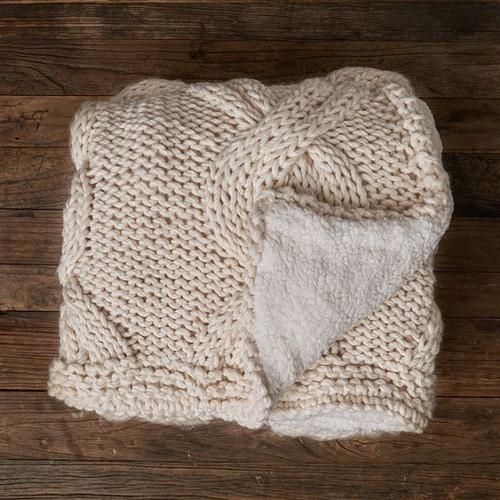 Chainlink Blanket W/ Berber - White Sand