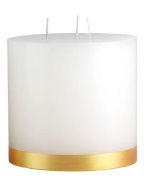 """Gold Banded Pillar, 5 x 5"""", round, white w/gold painted band, unscented"""