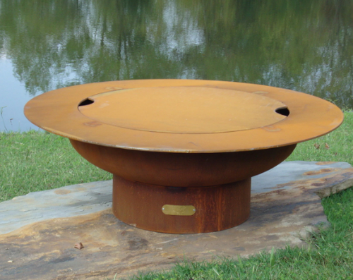Saturn Outdoor Fire Pit with Lid - Wood Burning