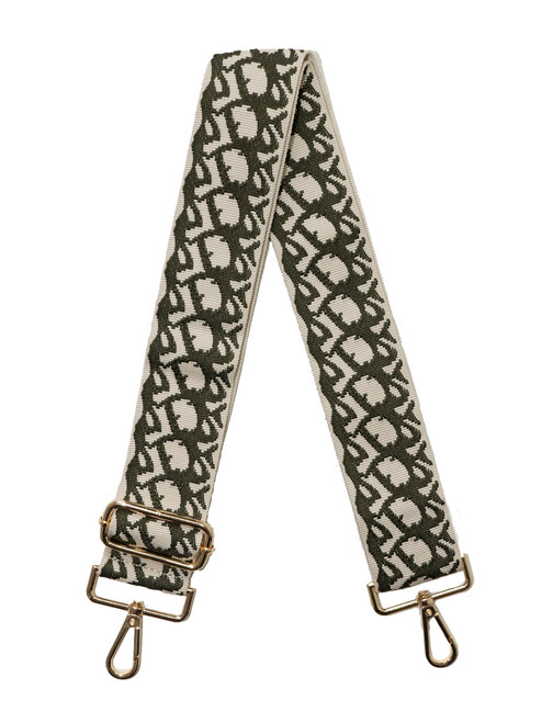 """2"""" Adjustable Strap with Gold Hardware, Cream/Green"""