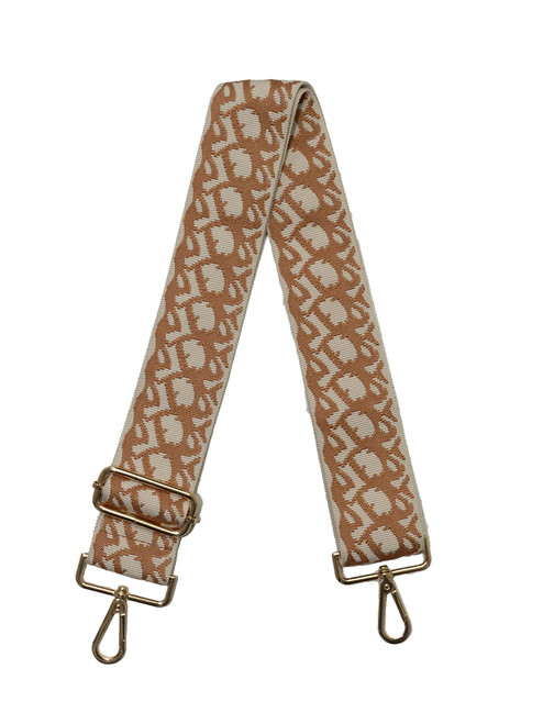 """2"""" Adjustable Strap with Gold Hardware, Cream/Camel"""