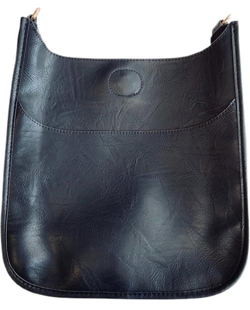 Black Vegan Leather Classic Messenger Bag - Gold Hardware
