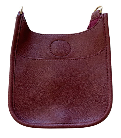 Petite Vegan Messenger Bag - Burgundy - Strap Sold Separately