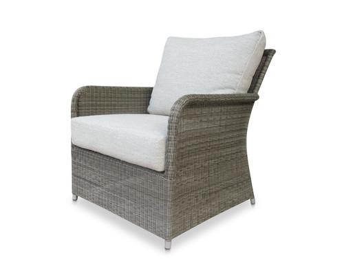Savannah White Coral Wicker Club Chair w/ Dune Cushions