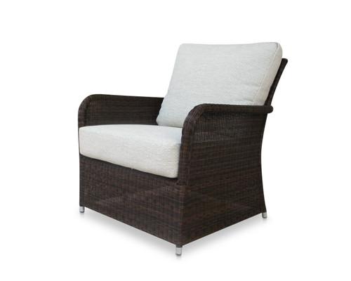 Savannah Brown Wicker Club Chair w/ Dune Cushions