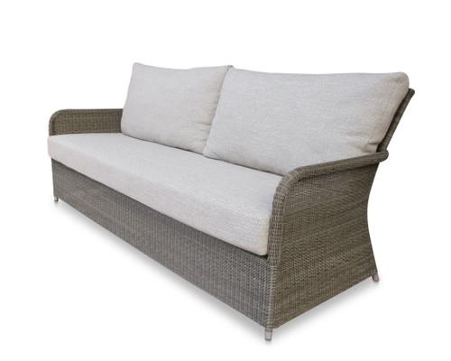 Savannah White Coral Wicker Sofa w/ Dune Cushions