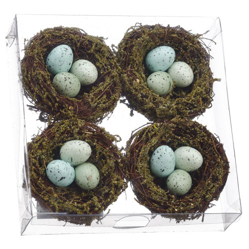 "1.7""Hx6.2""Wx6.2""L Bird's Nest (Set of 4) - Mixed"