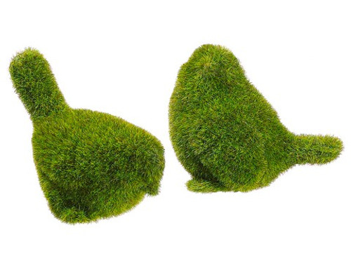 "3.75""H-4""H Moss Covered Birds (2 ea/set) Green"
