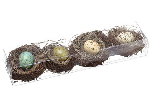 "11.5""Lx3""Wx2""H Bird's Nest With Egg (4 each/box) Assorted"