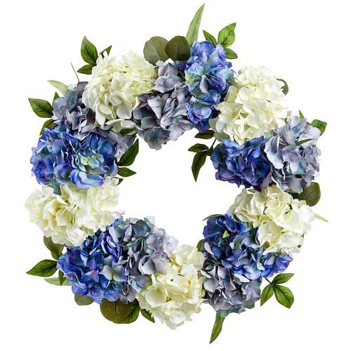 "24"" Hydrangea/Eucalyptus Wreath Blue Cream"