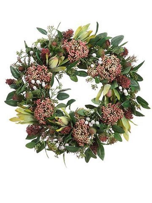 """19"""" Protea/Thistle/Sedum Wreath"""