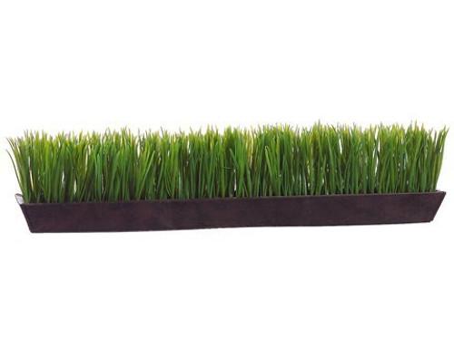 "6""Hx26""W Grass in Rectangular Tin Planter Green"