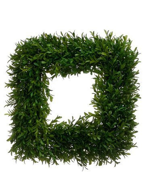 "14""Wx14""L Tea Leaf Square Wreath Green"
