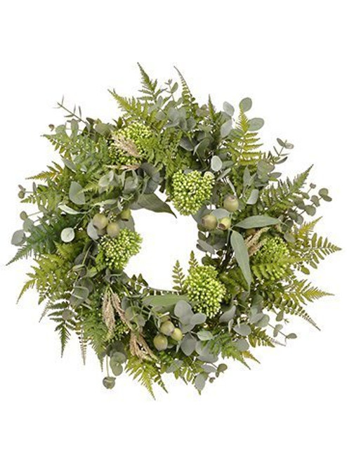 "27"" Eucalyptus/Sedum/Fern Wreath Green"