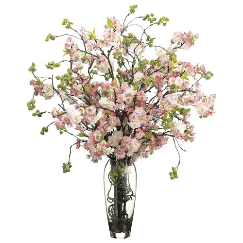 "35""Hx30""Wx30""L Cherry Blossom in Glass Vase Pink Green"