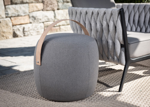 "20"" Upholstered End Table / Pouf - Graphite"