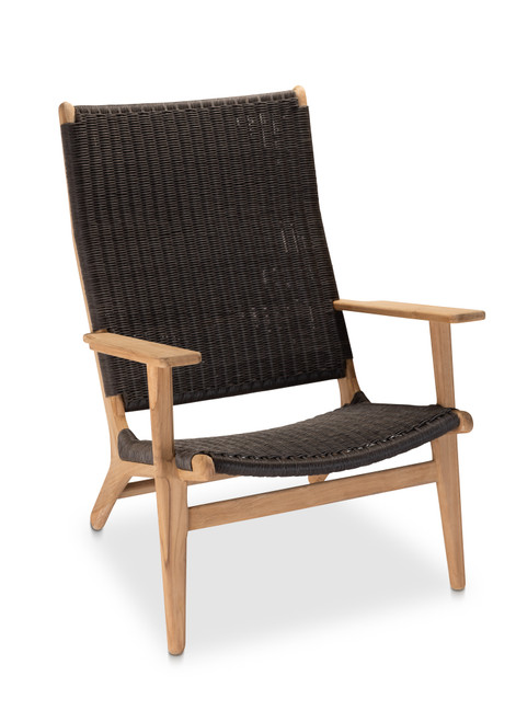 Dover Adirondack Chair - Natural Teak with Brown Wicker