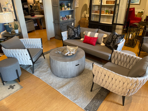 CO9 Design Sample Set  (40% OFF) -   Bridge Drum Coffee Table, End Table/Pouf & Round Stool with Slope Club Chair & Sofa