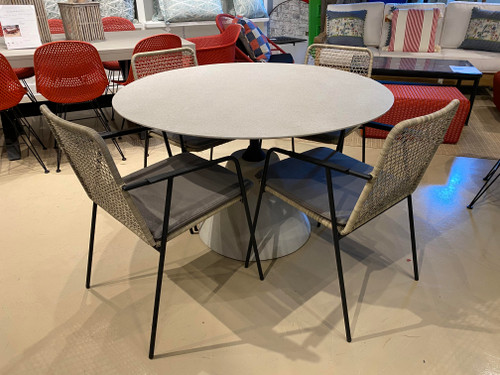 """CO9 Design Sample Set  50% OFF - Indoor or Outdoor  Bayridge 47"""" Round Dining Table with Maple Dining Arm Chairs"""