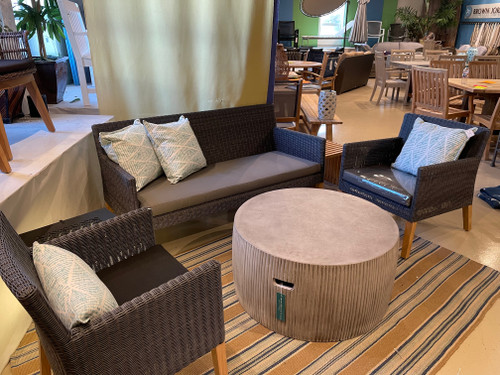 """CO9 Design Sample Set  (30% OFF) -  Cape Sofa, Club Chair, Dining Chair with Linear side Table & Bridge 35"""" Drum Table"""