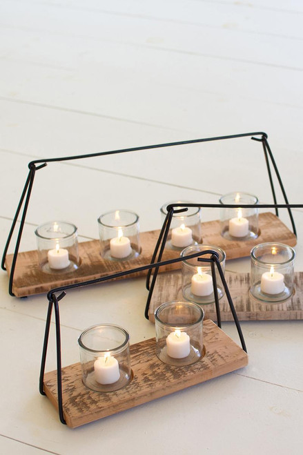Glass Candle Holders with Wood & Metal Frame