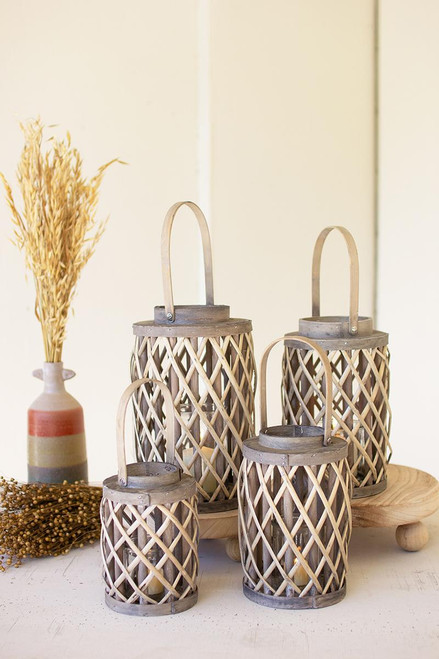 Grey Willow Cylinder Lanterns with Glass Inserts
