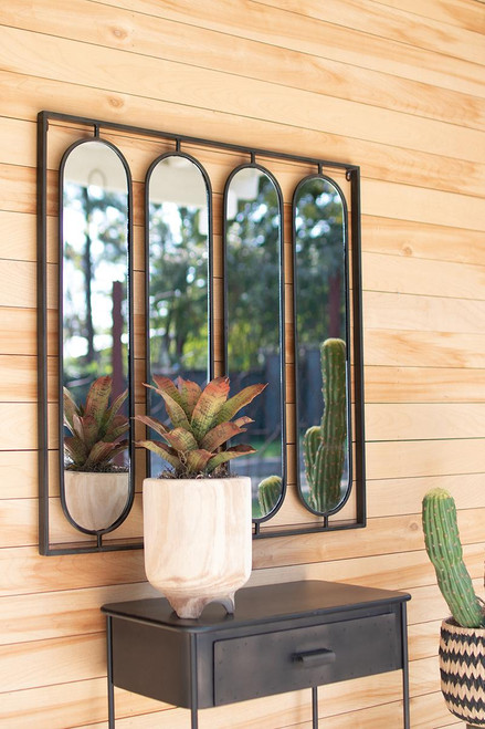 Four Oval Mirrors with Square Frame