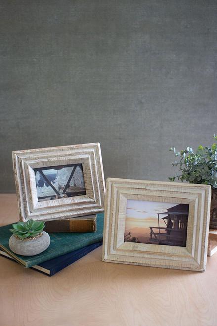 Recycled white wash wood photo frames, set of 2