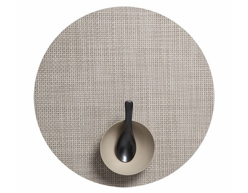 "Basketweave Table Mat 15"" Round - KHAKI"