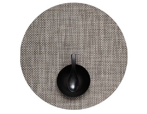 "Basketweave Table Mat 15"" Round - OYSTER"
