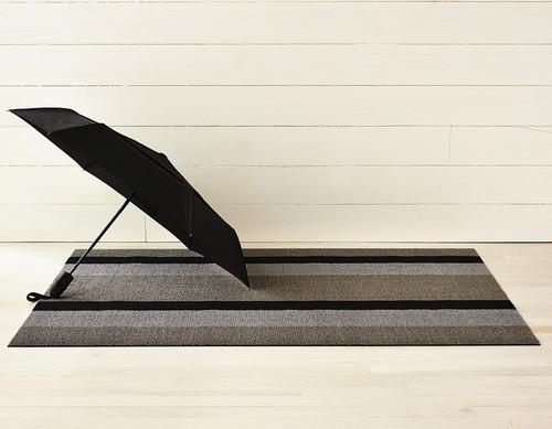 Bold Stripe Shag Doormat 18x28 - SILVER/BLACK