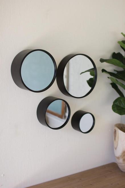 Antique Black Round Metal Wall Mirrors - 4 Sizes