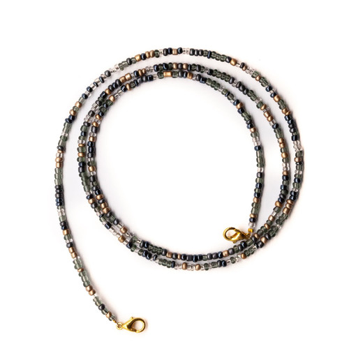 Glass Beaded Face Mask Lanyard Necklace, Black
