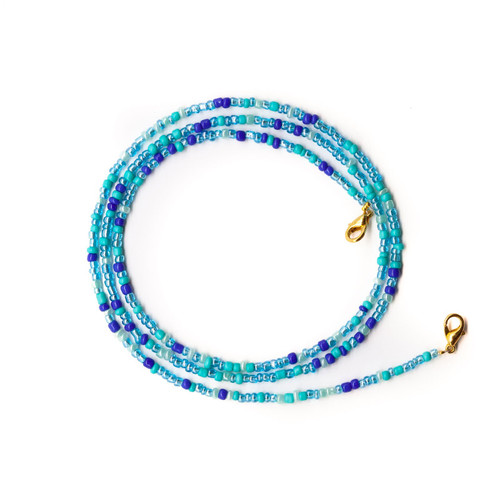 Glass Beaded Face Mask Lanyard Necklace, Ocean