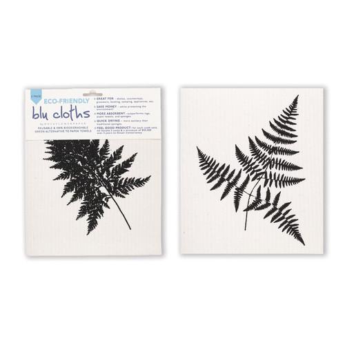 Fern Leaf Blu Cloth Set - Set of 2