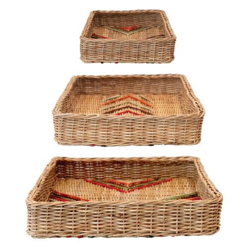 Decorative Hand-Woven Rattan Tray w/ Stitching, Multi Color