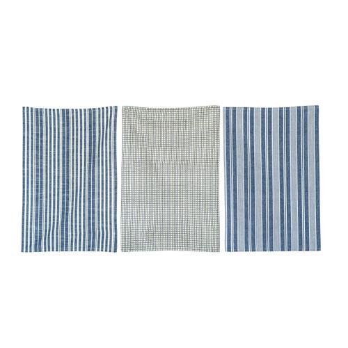 """28""""L x 18""""W Cotton Tea Towels, Set of 3, Blue"""