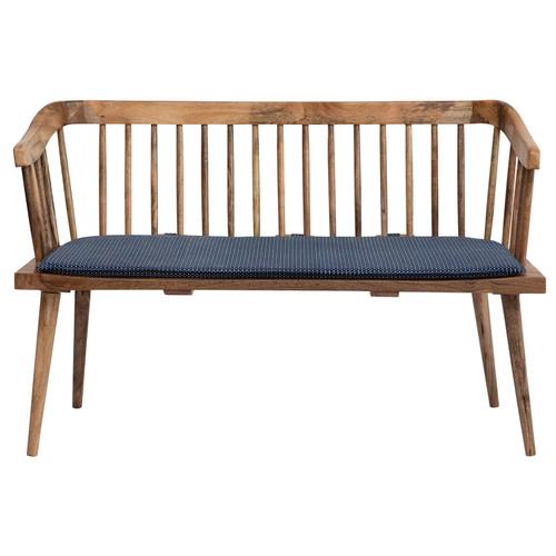 Mango Wood Bench w/ Printed Fabric Cushion