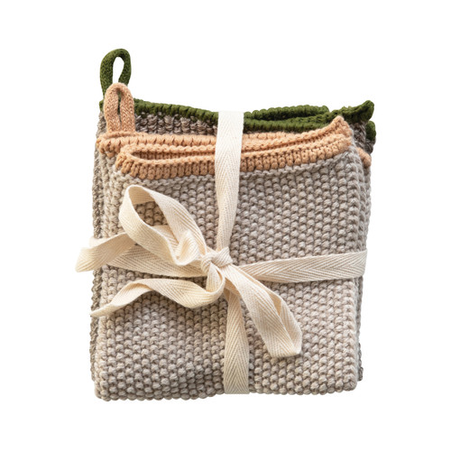 Square Cotton Knit Dish Cloths, Set of 2