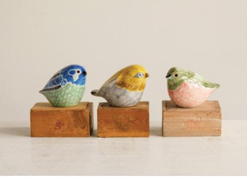"3-1/4""L x 2-1/2""H Hand-Painted Stoneware Bird"
