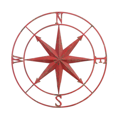 Round Metal Compass Wall Decor, Distressed Red