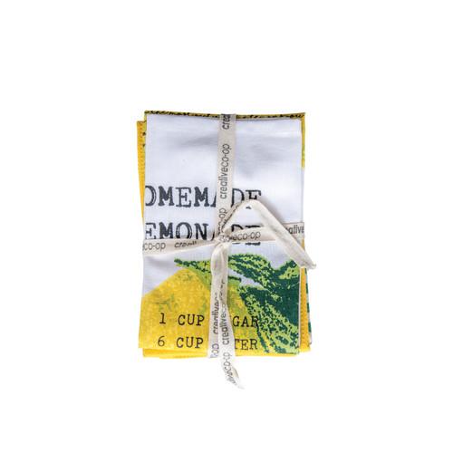 Cotton Check Tea Towels, Set of 3, Lemonade
